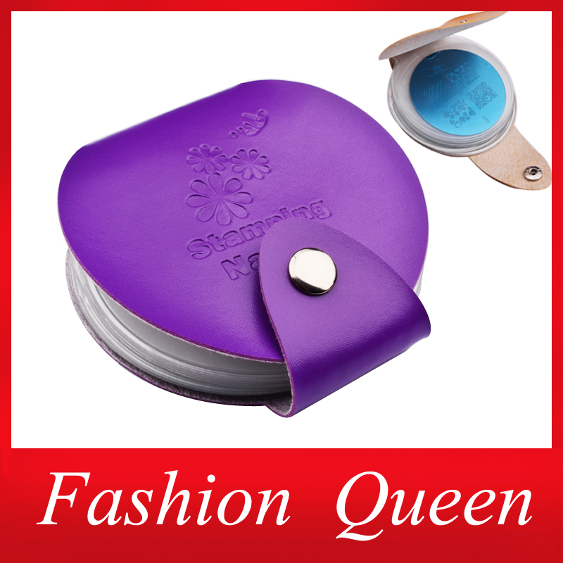 Newest 24slots Leather Nail Art Stamping Plate Case/Bag/Folder Nail Stamp Template Holder Album Storage for Dia 5.6cm Stencil(China (Mainland))