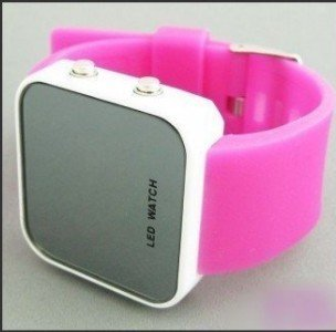wholesale! hot red new Boy Girls ODM jelly Watch, ODM Mirror LED watches Digital watches FREE shipping