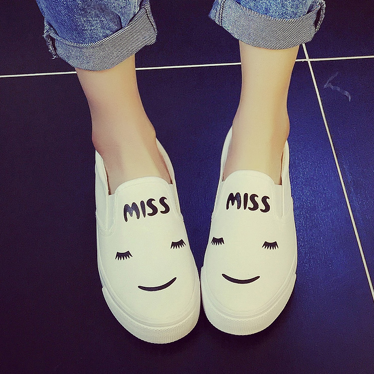 2016 spring canvas shoes female flat white cotton-made shoes heel knee-high shoes lazy low women's shoes(China (Mainland))