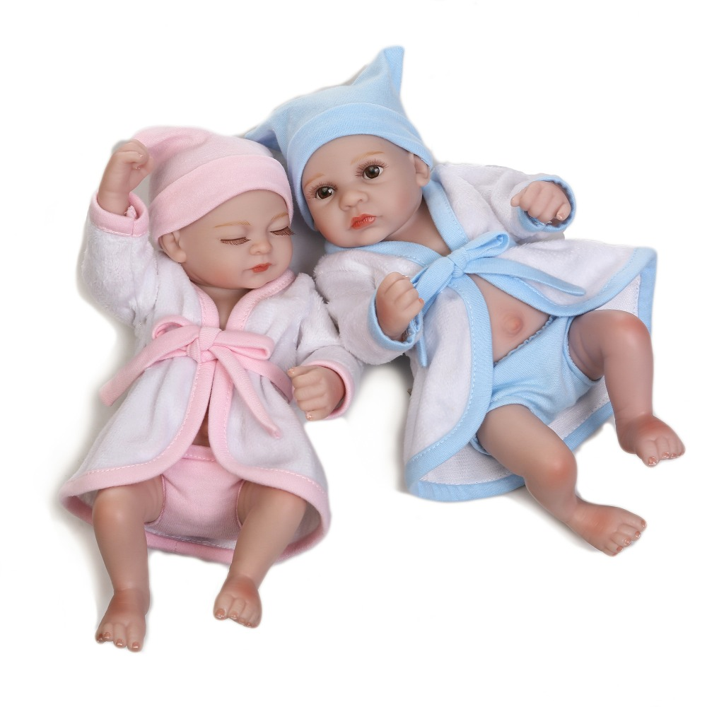 2017 New Waterproof Mini Baby Doll Pair Lifelike Living Doll Solid Silicone Children Gift 12 inches(China (Mainland))