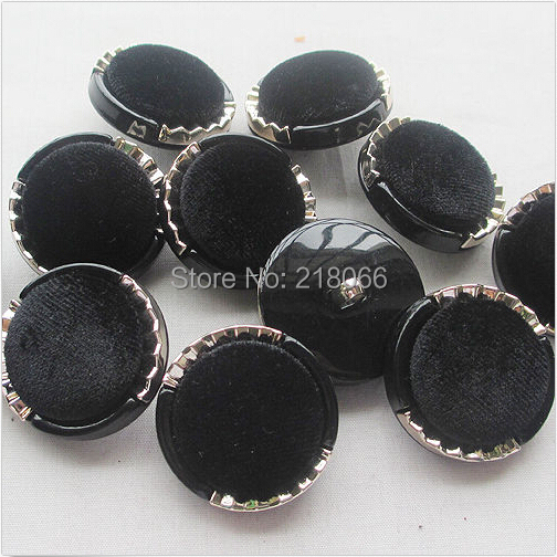 20 Pcs Black Velvet Overcoat Buttons Back Hole Sewing Craft Lots Mix 30mm ZXT0680(China (Mainland))