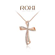 ROXI Brand Luxury 18K Gold Plated Cross Women Necklaces Pendant Fashion Women Crystal Necklace Jewlery Design Femme Wholesale(China (Mainland))