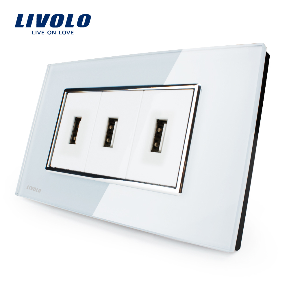 Livolo US Standard USB Socket(1A,5V), White/Black Crystal Glass, Wall Powerpoints With Plug, VL-C393USB-81/82(China (Mainland))