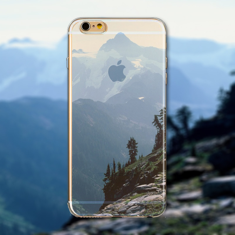 Super Deal Phone Cover For iPhone 6 6S Ultra Slim Soft Silicon Semi Transparent Clear Beautiful Landscape Printed In Stock Hot