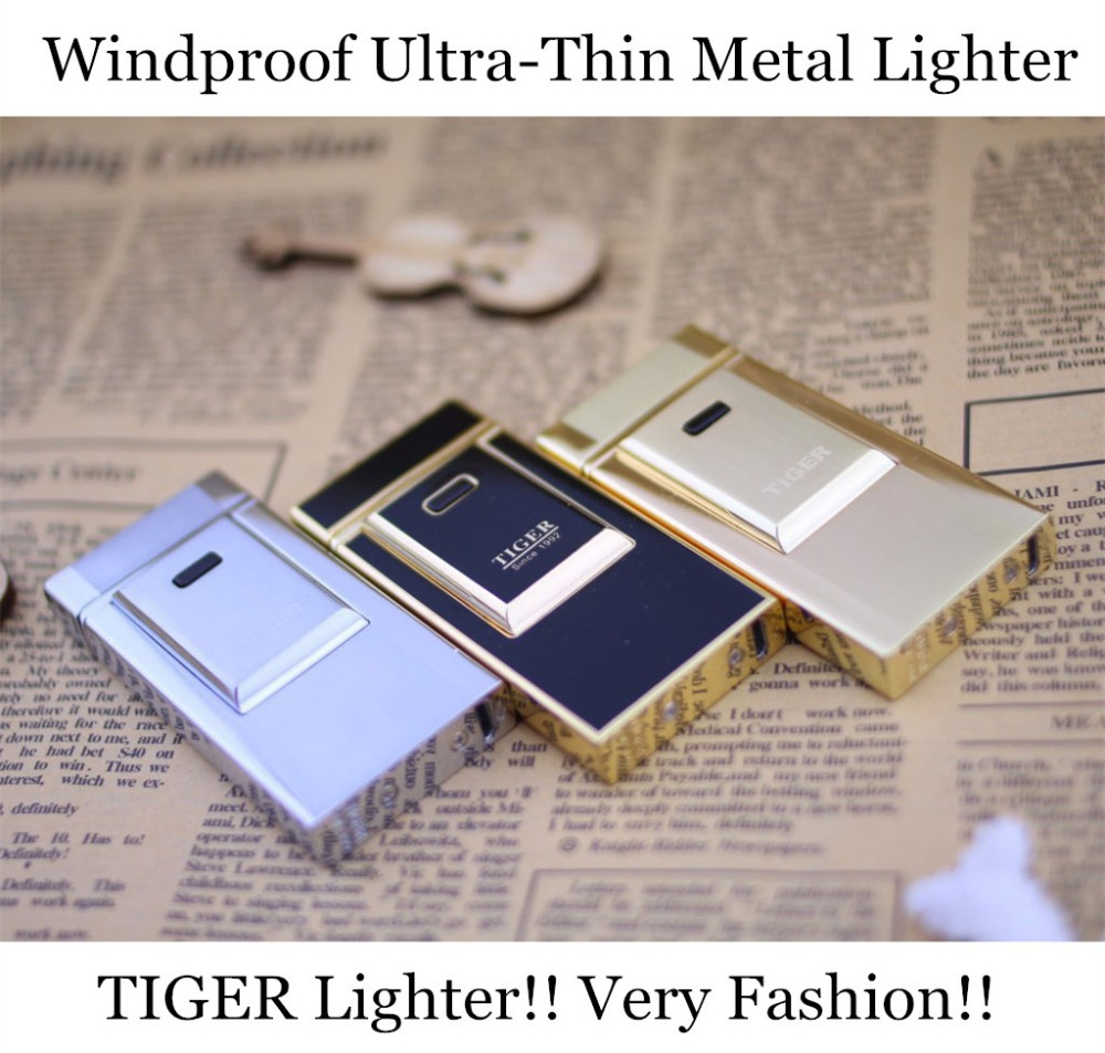 Electronic Lighter! Tiger Cigar Cigarette Lighter Windproof Ultra-thin Metal Rechargeable Pulse Arc Charge USB - SAMLOO Store store