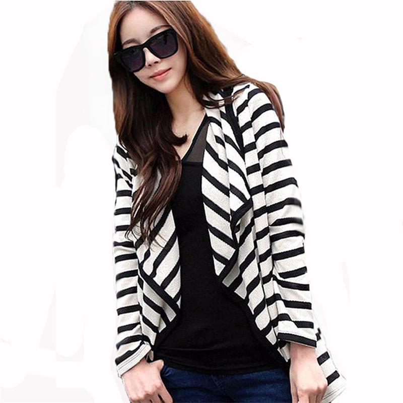2016 Autumn Winter New Casual Striped Loose Long Sleeve Irregular Women Long Coat Poncho Cardigan Blouse Shirt Thin Jacket