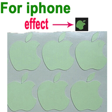 Newest Free shipping 12pcs/Lot Luminescent Logo stickers for Apple iphone 3GS 4 4S 5 5s 5c green light luminous(China (Mainland))