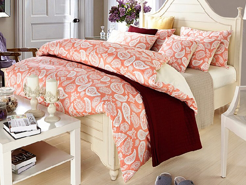 Free shipping/paisley duvet covers/Japan quality /egyptian cotton sheet set/satin print bedding/queen Set/(China (Mainland))