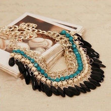 2015 Collier Femme Statement Bohemian Resin Beads Collares Necklaces & Pendants Gold Choker Colar for women jewelry Accessories(China (Mainland))