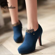 Woman Shoes High Heels platform Pumps Blue Red black pointed Toe Rhinestone Platform Woman Wedding Bridal Shoes size 33-43(China (Mainland))
