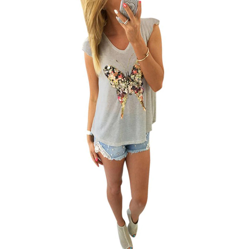 Summer Women Cotton t shirt Butterfly Sleeveless girl blusas slim Casual camisas femenina Tops Sexy v neck fashion T-Shirt(China (Mainland))