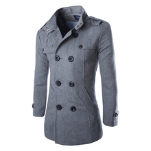 2016 Cheap Mens Trench Coat Fashion Wool Long Mens Coat Winter Trench Coat Men Gabardinas Para Hombre M L XL XXL XXXL(China (Mainland))