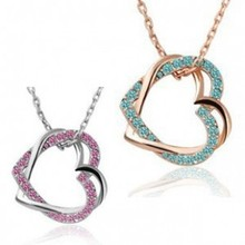 New 2014 Austrian Crystal 18K Gold and Silver Plated Double Heart Necklaces & Pendants Wedding Fashion Jewelry For Women