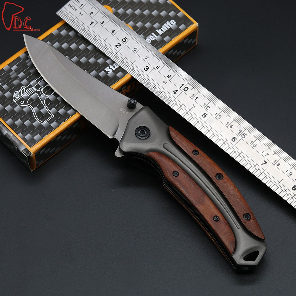 Buy Dcbear High Performance Folding Knife Folder 440C Steel Outdoor Tops Knife 58HRC Tactical Knife EDC Tools cheap