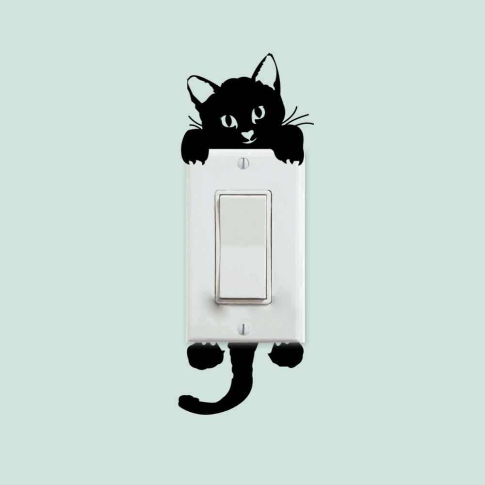 DIY Funny Cute Cat Switch Decal Wallpaper Wall Stickers Home Decoration Bedroom Parlor DecorationZYVA327(China (Mainland))