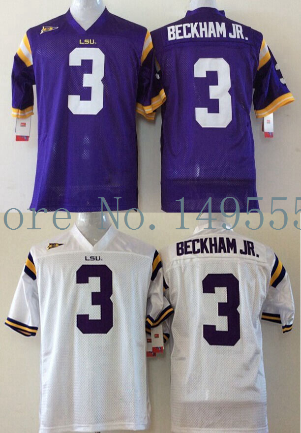 Free Shipping LSU Tigers #3 Odell Beckham JR College Football Jerseys NCAA Authentic Double Stitched Logos Top Quality(China (Mainland))