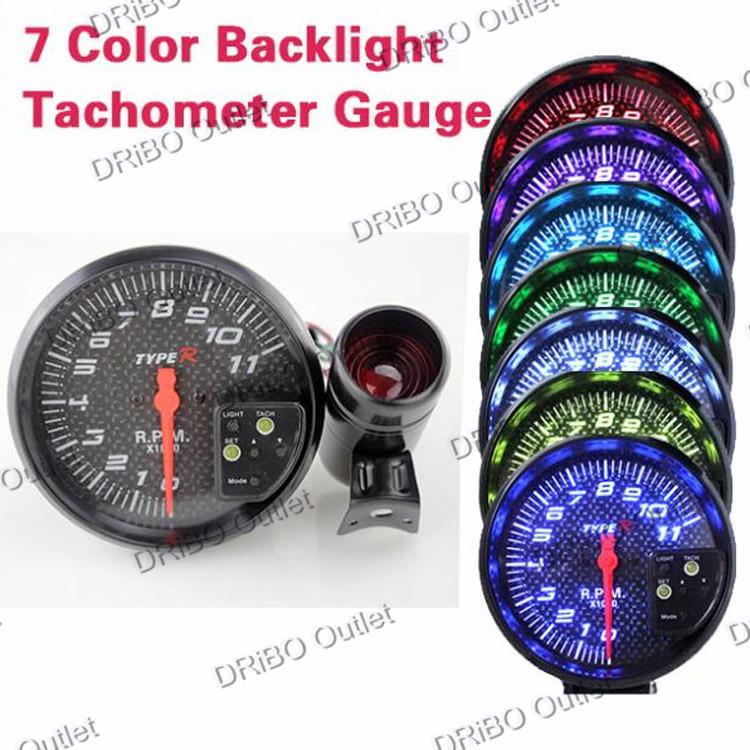 "Tachometer Universal 5"" Paint Carbon fiber Inch Car Tachometer RPM Speedometer RPM Auto gauge Tachometer For car Meter Racing(China (Mainland))"