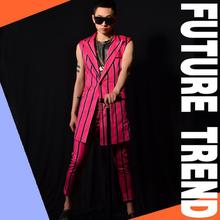 Buy Hot new Nightclubs male singer DS DJ right Zhilong GD England vertical stripes bars costumes Men fashion Ninth pants suits M-5XL for $115.00 in AliExpress store