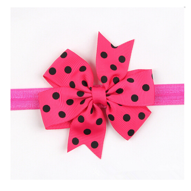 2015 New Arrival Lovely Baby Girls Headband Toddler Flower Bowknot Decoration Dots Pattern Hair Band Elastic Head Accessaries(China (Mainland))