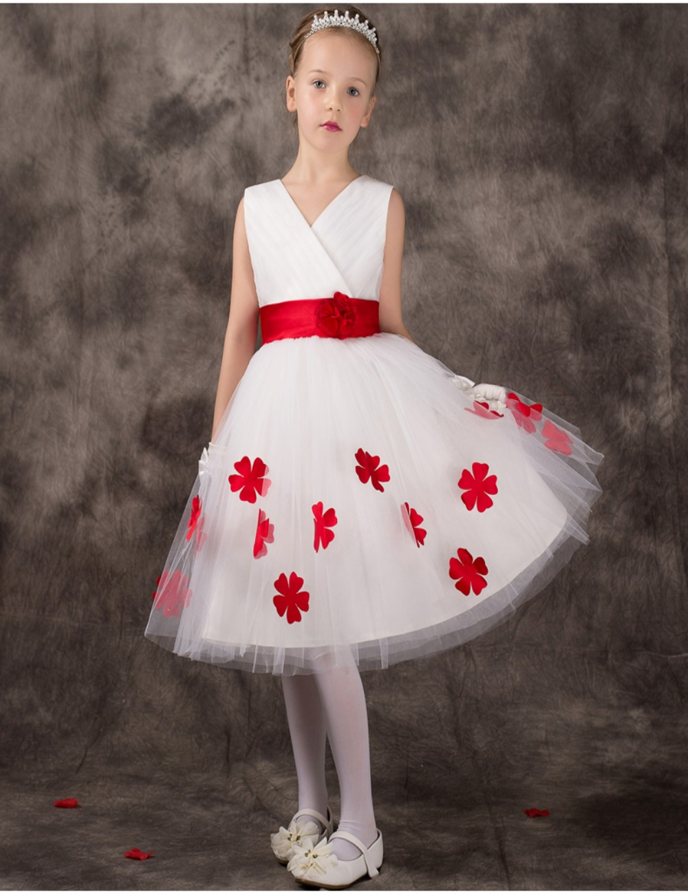 Red and white flower girl dresses uk junoir bridesmaid dresses 2015 cute red white flower girls dress bow sash kids beauty pageant dresses knee length littleg izmirmasajfo