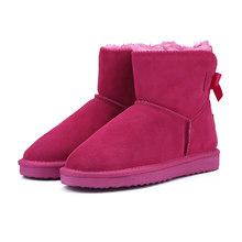 MBR FORCE แฟชั่นหิมะอุ่นรองเท้าบูทฤดูหนาวของแท้ Cowhide หนังรองเท้าผู้หญิงข้อเท้ารอง(China)