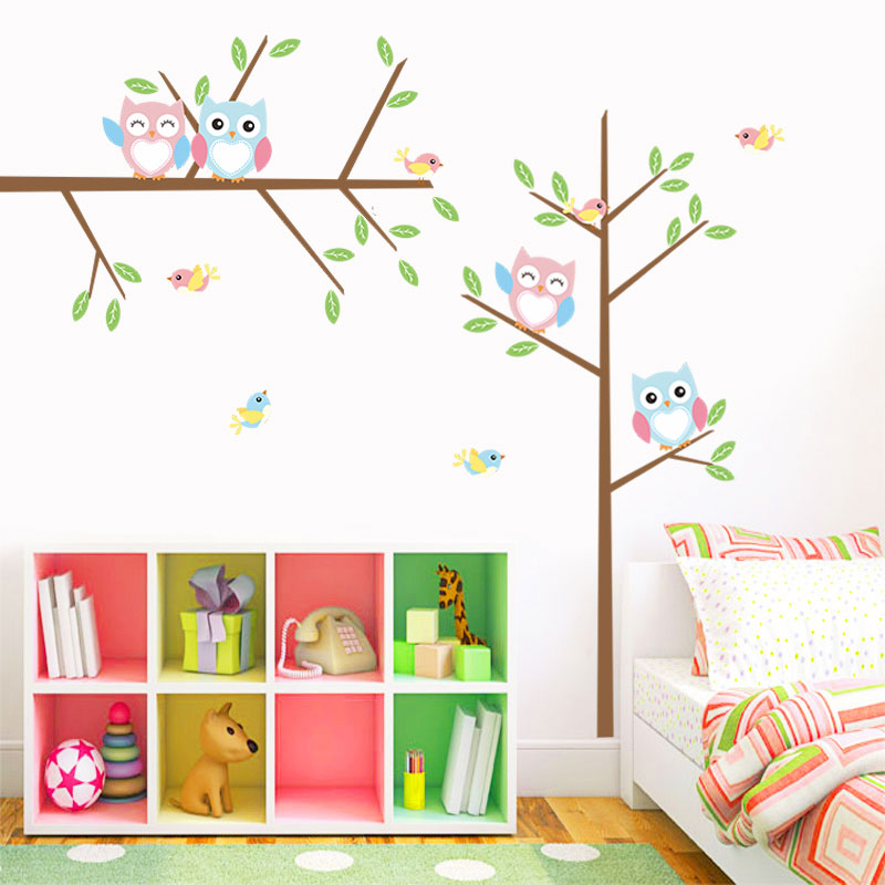 Creative Home Decor Cartoon Cute Owl Trees Pattern Wall Stickers For Baby Room Mural Art Decals Wallpaper 25*70 CM
