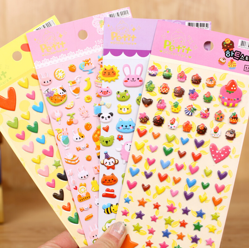 DIY Cute Kawaii Cartoon 3D Soft Sponge Bubble Animal Wall Stickers for Kids Diary Decoration Scarpbooking Free shipping 1019(China (Mainland))