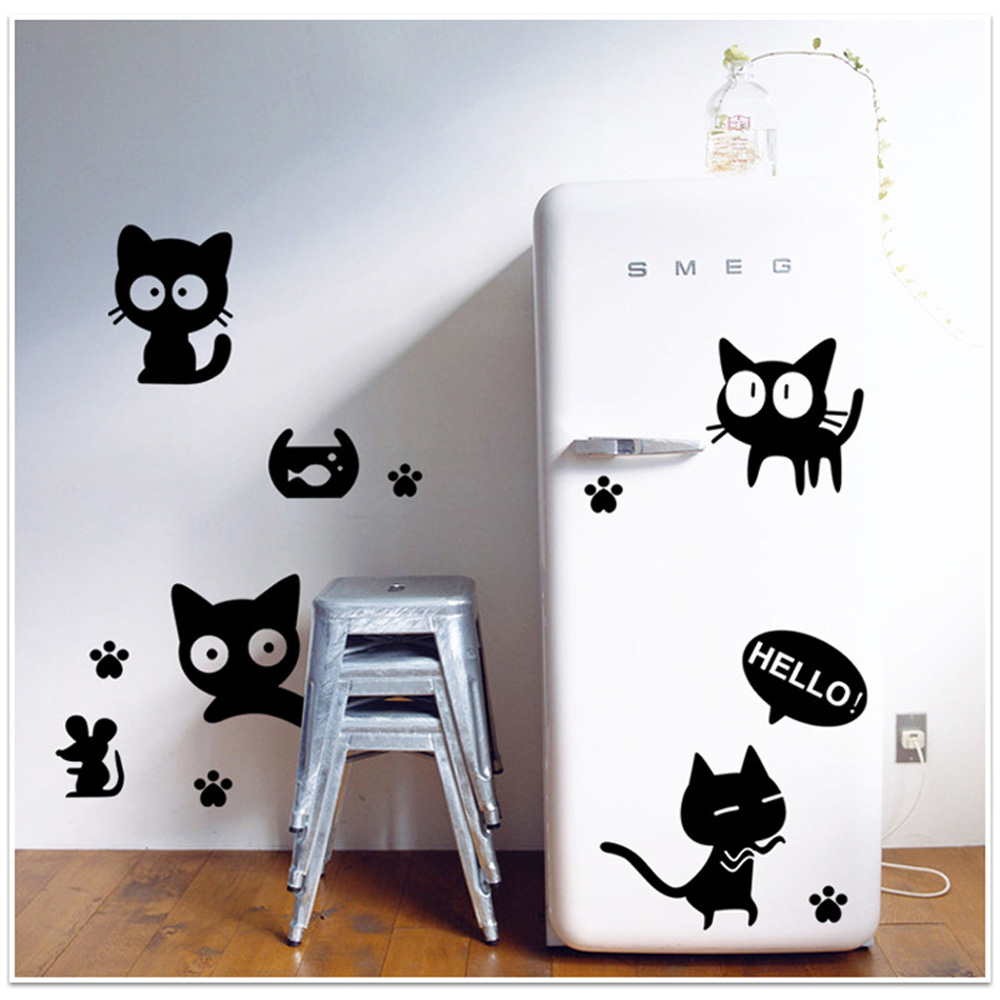 online kaufen gro 223 handel katze kunst aus china katze kunst cat outline wall sticker animal wall art