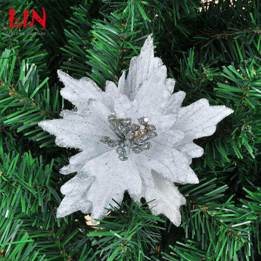 Christmas tree dress up 14cm simulation silver gilt decoration flower enfeites de natal adornos navidad craft supplies ornament(China (Mainland))