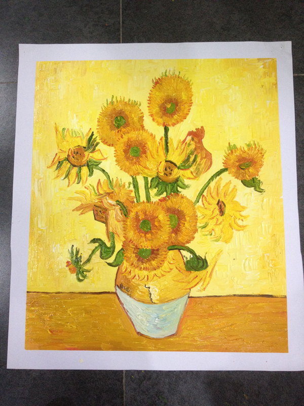 Famous Painting Picture Van Gogh Oil Painting Reproductions Sunflower Hand Painted Canvas Painting European Style High Quality(China (Mainland))