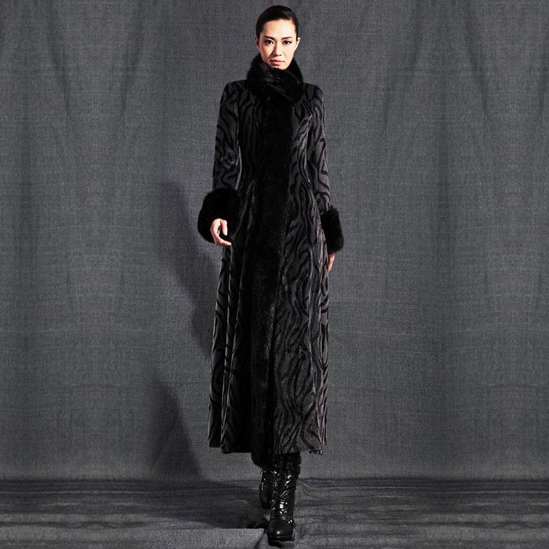 Весенние и осенние женские пальто тонкий Кролик меховой воротник фантазийный дизайн длинное пальто