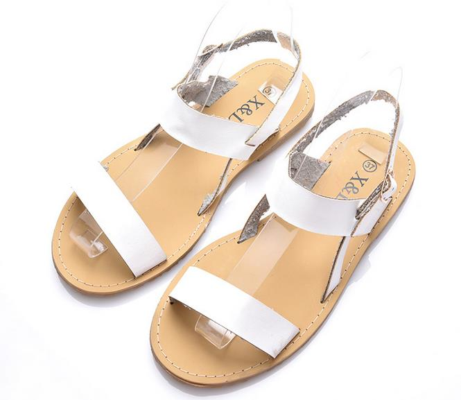 2016 summer Europe white  flat heel shoes fashion plus size fish mouth sandals hollow out microfiber women foreign trade sandals