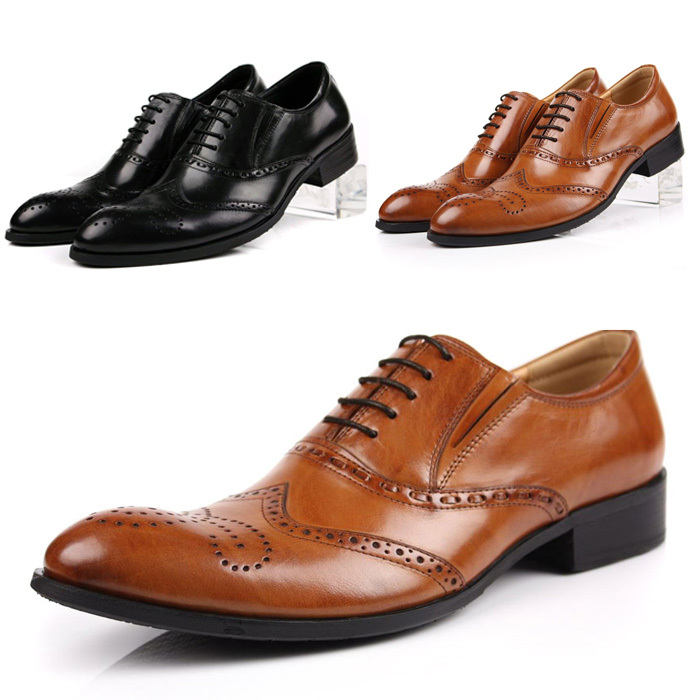 Plus Size Cow Men Business Shoes Lace Up Cut Outs Breathable Brogues Shoes Hombre Genuine Leather Korean Style Dress Shoes Hot <br><br>Aliexpress