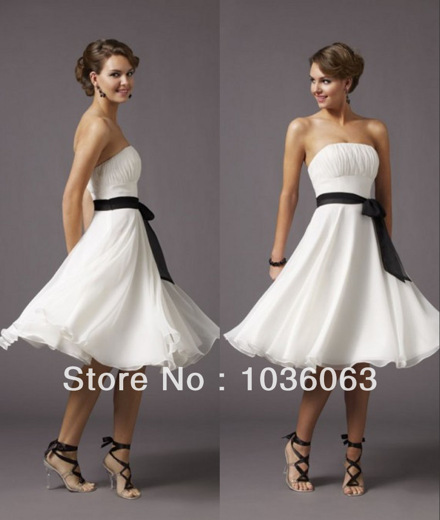 Stunning Strapless White Chiffon Knee Length Short Bridesmaid Dresses 2014 Cheap Pattern Under 100(China (Mainland))