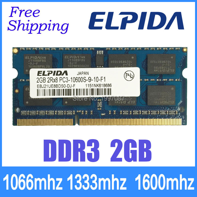 Elpida brand new orignal DDR3 2GB 1066mhz/1333mhz/1600mhz PC3-10600 PC3-8500 ram memory for laptop computer Sodimm for netbook(China (Mainland))