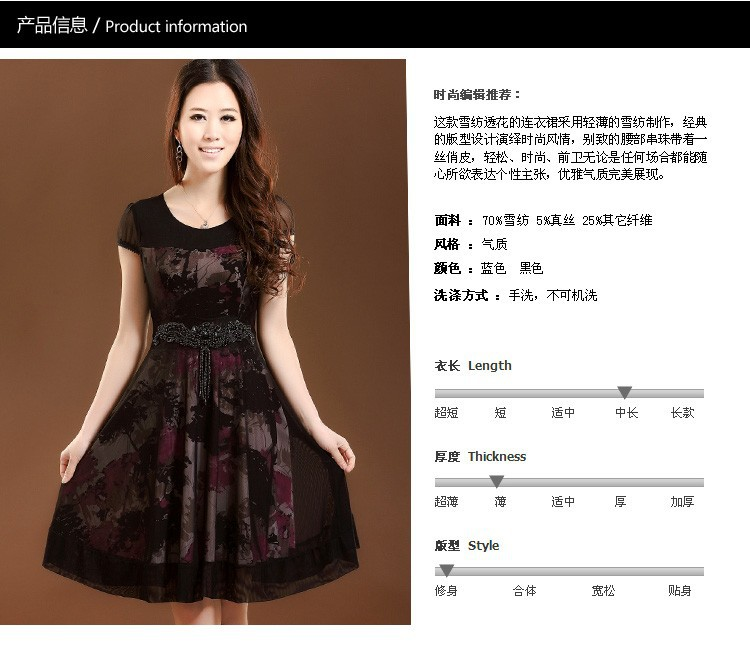 Новый дизайн летних quinquagenarian цельный платье плюс размер мать шифон платье s-xxxxl