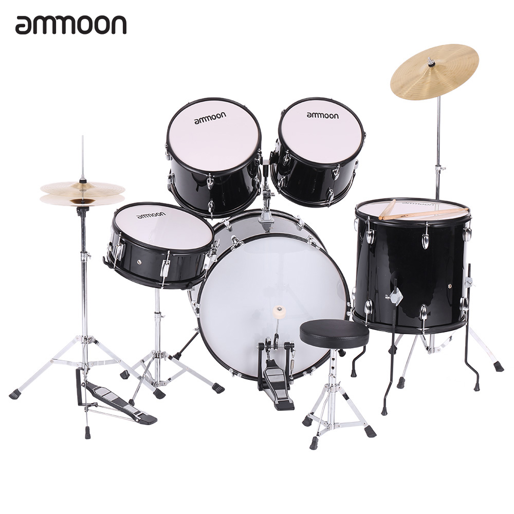 ammoon 5-Piece Complete Adult Drum Set Drums Kit Percussion Musical Instrument with Cymbals Drumsticks Stands Adjustable Stool(China (Mainland))