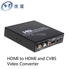 HDMI to HDMI and CVBS Video Converter,NTSC and PAL,HDMI IN VIDEO and hdmi OUT,1080P to 576I,hdmi2cvbs,hdmi2av converter,CRT TV