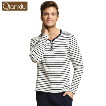 Qianxiu Pajama Sets For Men Knitted Cotton Homewear Autumn Casual Pyjamas