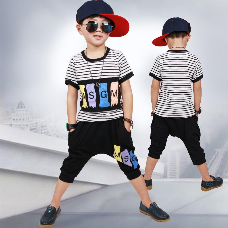2016 summer paragraph children's clothing sets,boy clothes Big virgin cotton short-sleeved striped 2pcs/set Children sports suit(China (Mainland))