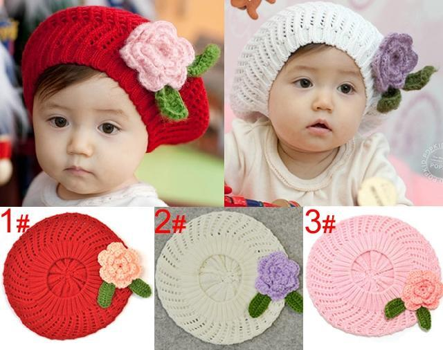 2012 female child hat knitted handmade cap child beret cap baby hat 3 bb hat(China (Mainland))