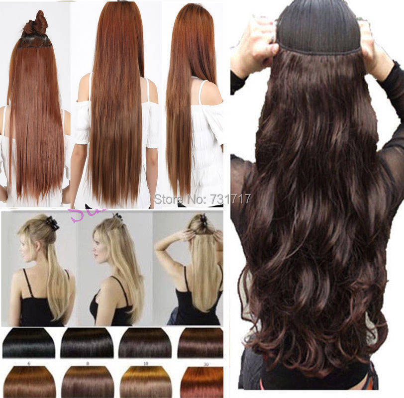 "Hot Sale One Piece 24"" Inches Long Curly Wavy 3/4 Full Head Clip In hair Extensions Hairpiece Cheap Sale Free Fast Ship(China (Mainland))"