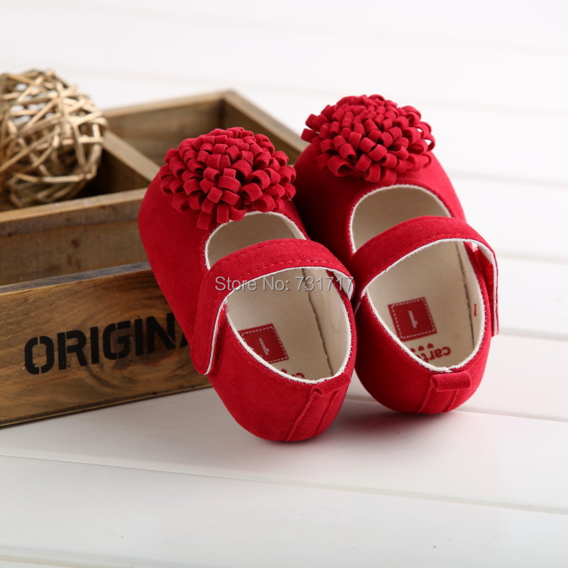 2015 New Fashion Baby Shoes Girls Red Cotton Soft Sole Skid-proof Cute Kids Toddler Shoes First Walkers 1Pair Fit 0-18 Months