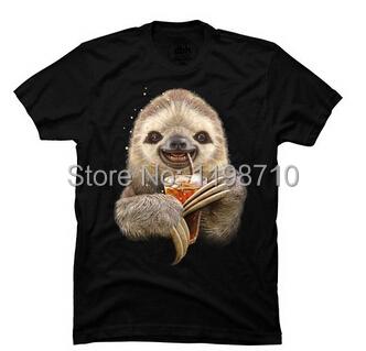 SLOTH & SOFT DRINK Custom Men's T-shirt(China (Mainland))