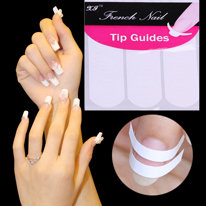 DIY French Manicure Nail Art Decorations Round Form Fringe Guides Nail Sticker Decals Nails Art Tools 48 pcs/lot Free Shipping(China (Mainland))