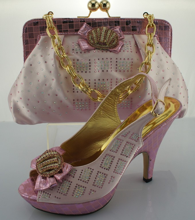 Design No.ME0010 pink !pretty style African shoes and matching bags for party!top quality ladies shoe and bag with rhinestone!(China (Mainland))