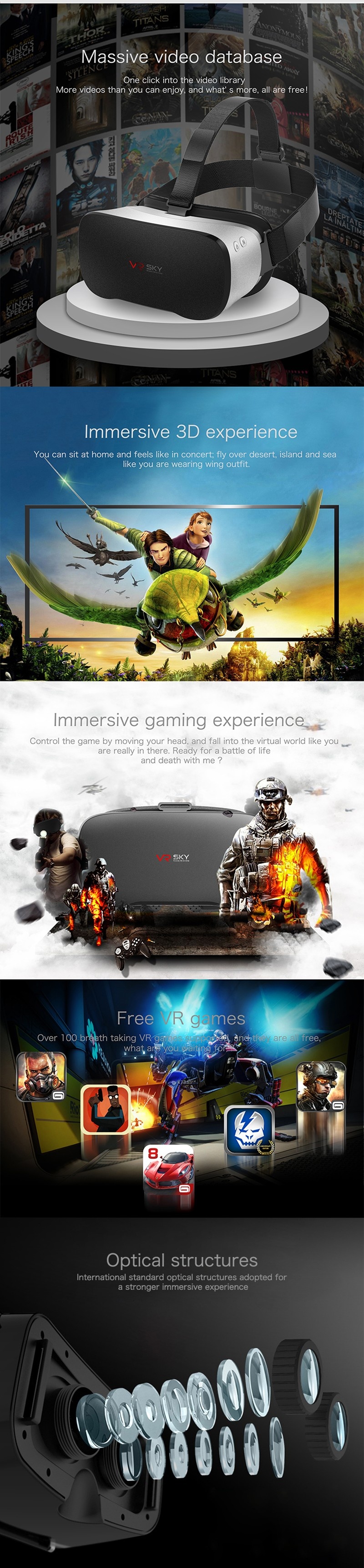 V3 All In One Headset Allwinner H8VR Octa Core 5.5 Inches 1080P FHD Display VR Immersive 3D Glasses Virtual Reality Headset