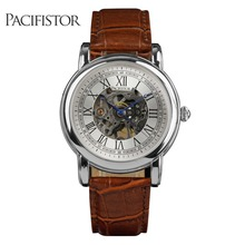 PACIFISTOR Mens Watches Luxury Golden Stainless Steel Case Men's Dress Watch Skeleton Dial Classic Mechanical Brown Leather(Hong Kong)