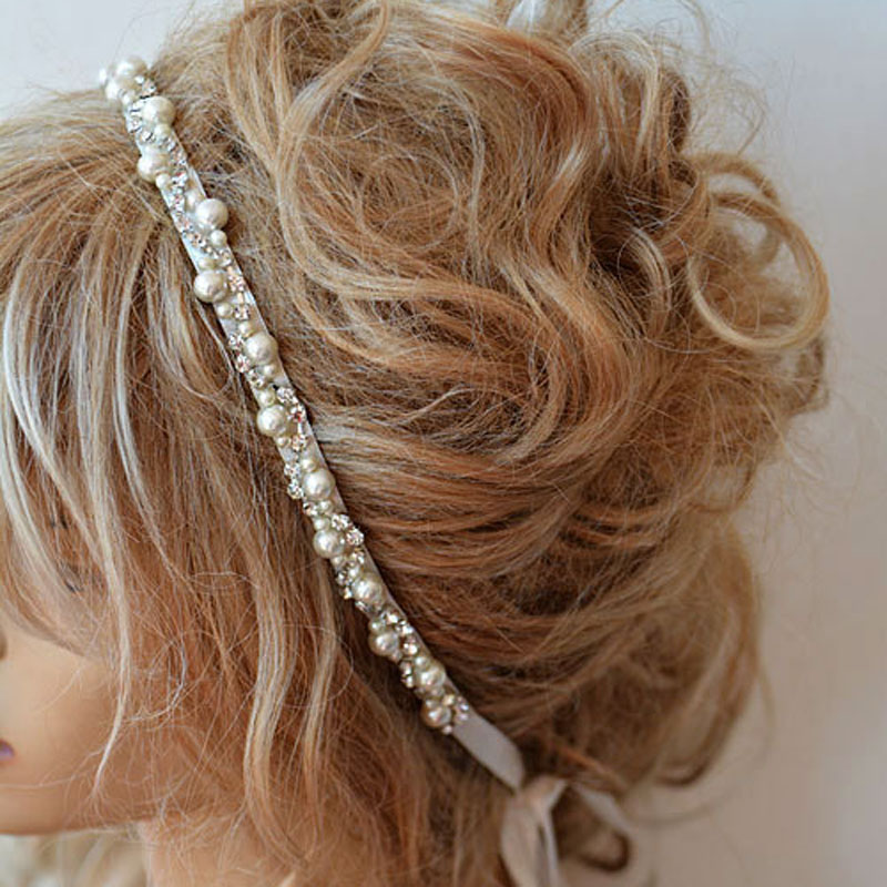 Wedding Rhinestone and Pearl Headband Bridal Headband Bridal Hair Accessory Wedding hair Accessory 1PC(China (Mainland))