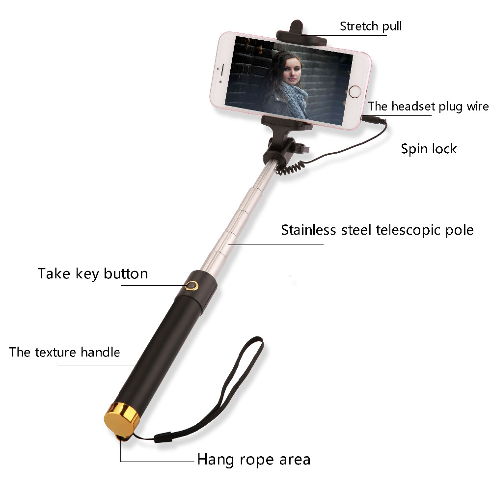 image for Universal Mini Selfie Stick Monopod For Iphone Samsung Android IOS Wir
